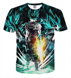 T Shirt 3D - T Shirt 3D All Over Dragon Ball Super Vegeto Blue God