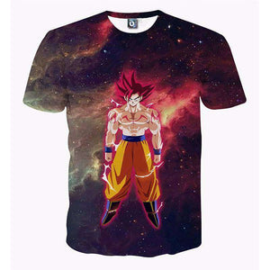 T Shirt 3D - T Shirt 3D All Over Dragon Ball Z Goku Red God
