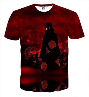 T Shirt 3D - T Shirt All Over 3D Naruto Itachi Sharingan Genjutsu