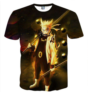 T Shirt 3D - T Shirt All Over 3D Naruto Kyubi Mode Fight