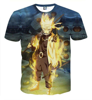 T Shirt 3D - T Shirt All Over 3D Naruto Mode Chakra Kyubi