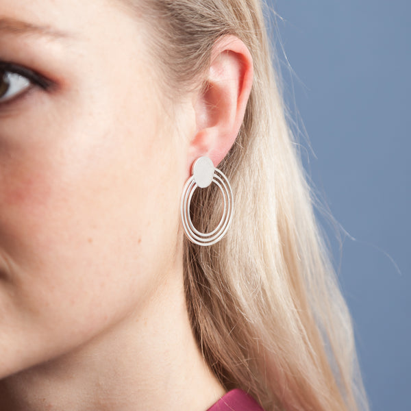 Earrings - Shape on Shape - 1 disc connected to 3 circles