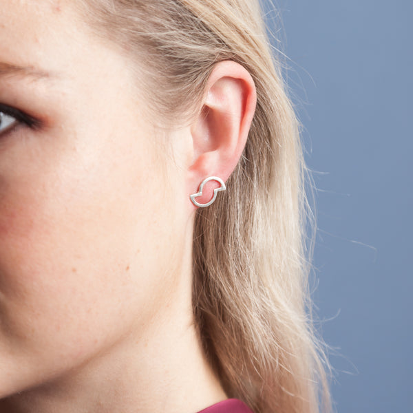 Earrings - Shape on Shape - Off set half circles
