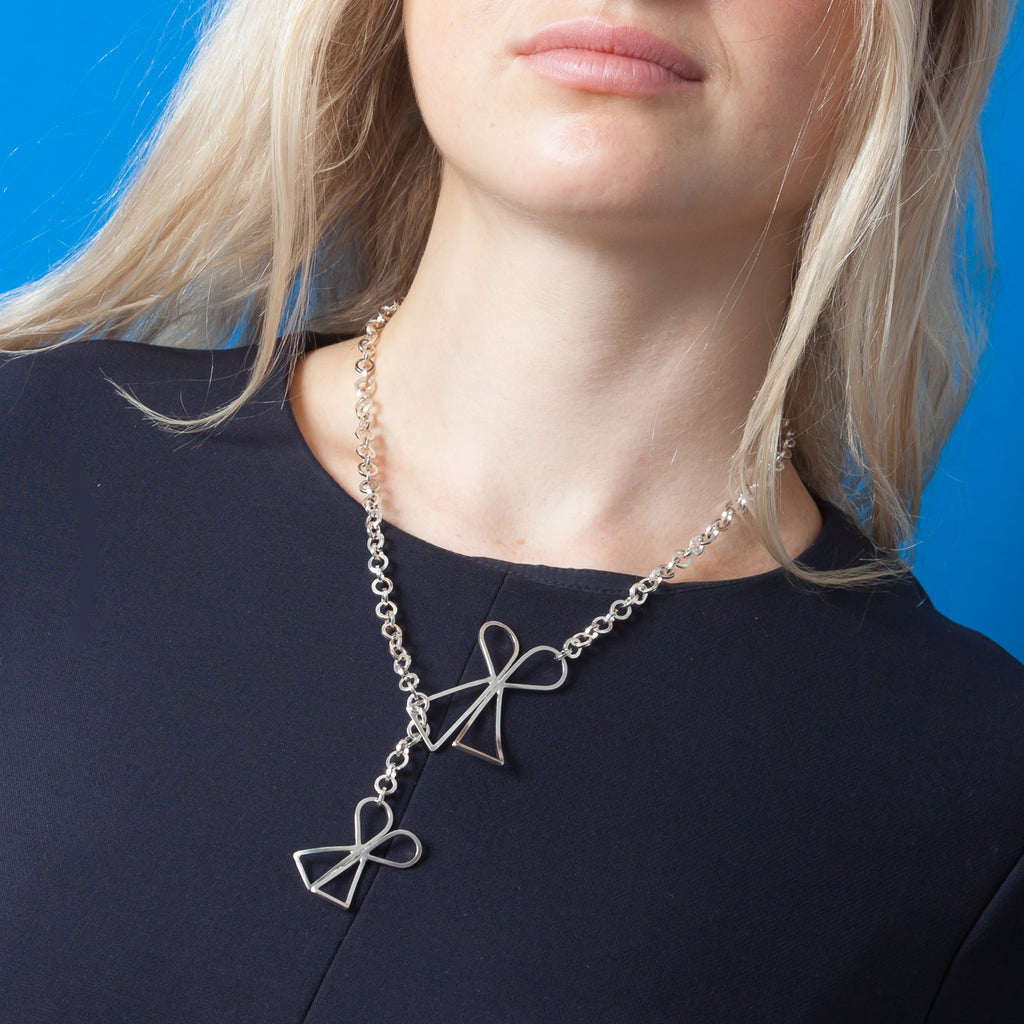 Lariat Necklace - Shape on Shape -  2 Bow Ties