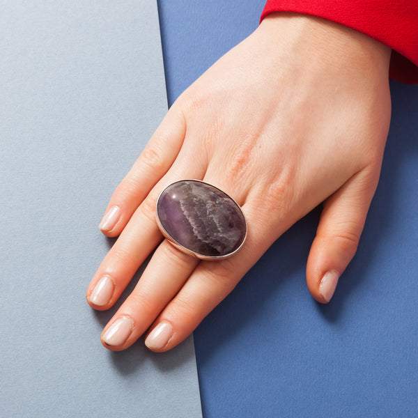Ring - Oval Purple Cabochon Stone
