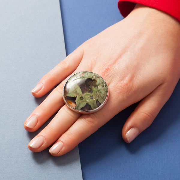 Ring - Large Round Patchy Green Cabochon Stone