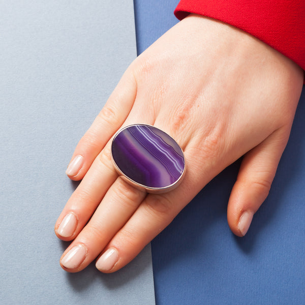 Ring - Oval Purple Upside Down Cabochon Stone