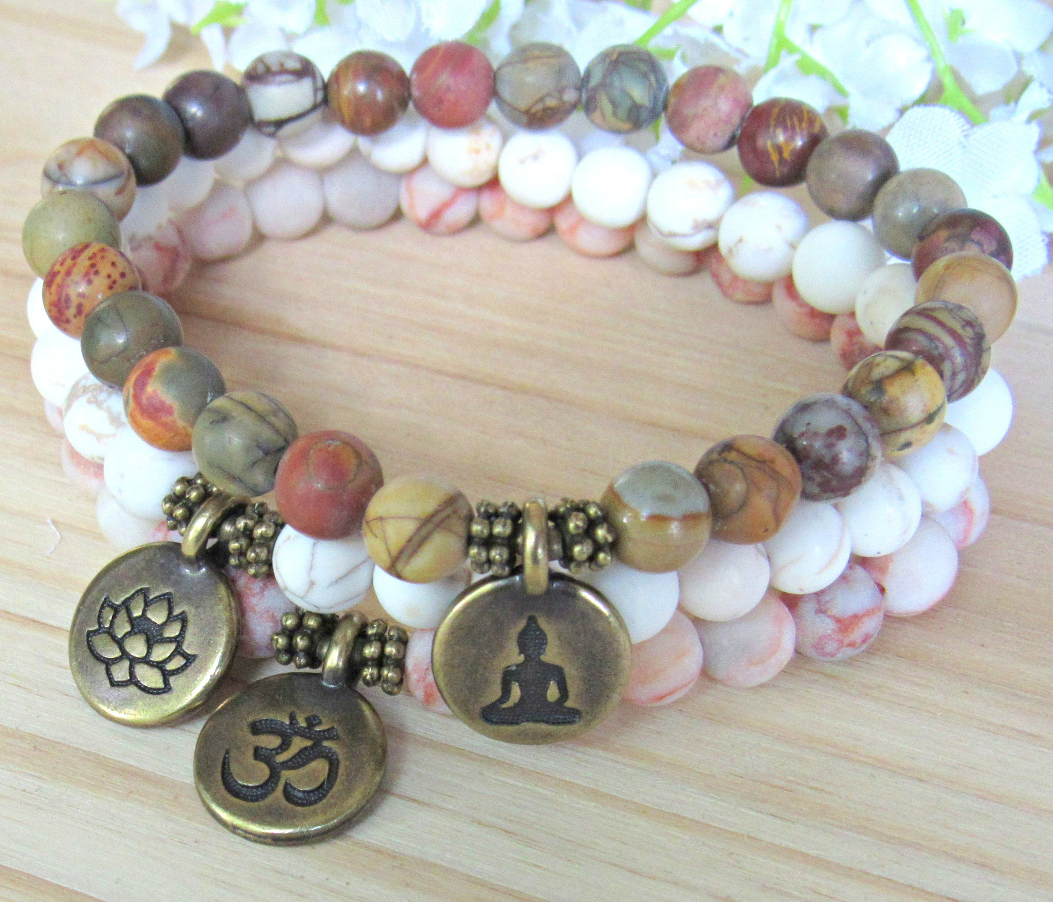 1d0c0c1d3e298b yoga bracelet set, brown, white, red, multicolor, jasper,. yoga bracelet set,  brown, white, red, multicolor, jasper,