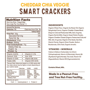 Nutrition and ingredient information for Bitsy's Cheddar Chia Veggie Smart Crackers