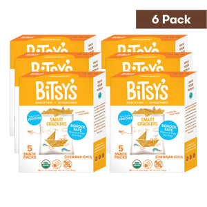 Six boxes of Bitsy's Cheddar Chia Smart Crackers