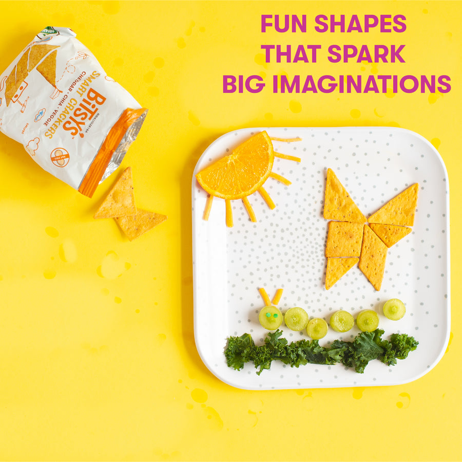 Bitsy's Cheddar Chia crackers are baked into fun shapes that spark big imaginations