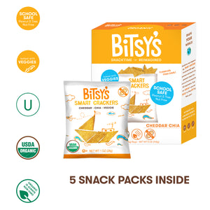 Bitsy's Cheddar Chia Crackers nut free, organic, baked with veggies
