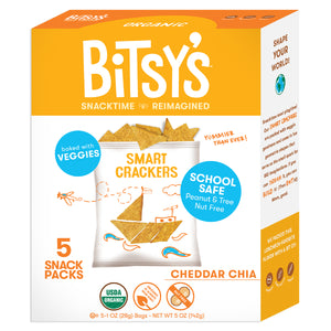 Bitsy's Cheddar Chia crackers are baked with vegetables and school safe