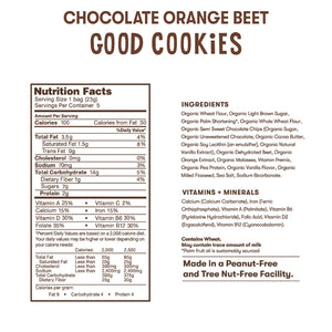 Nutrition and ingredient information for Bitsy's Chocolate Orange Beet Good Cookies