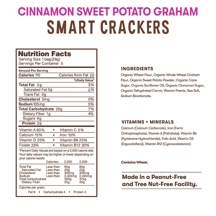 Nutrition and ingredient information for Bitsy's Cinnamon Sweet Potato Smart Crackers