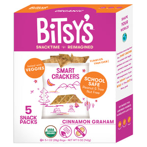 Bitsy's Cinnamon Graham crackers are baked with vegetables and school safe