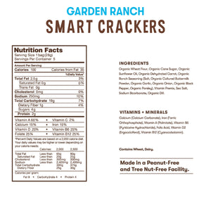 Nutrition and ingredient information for Bitsy's Garden Ranch Smart Crackers