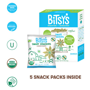 Bitsy's Ranch Crackers nut free, organic, baked with veggies