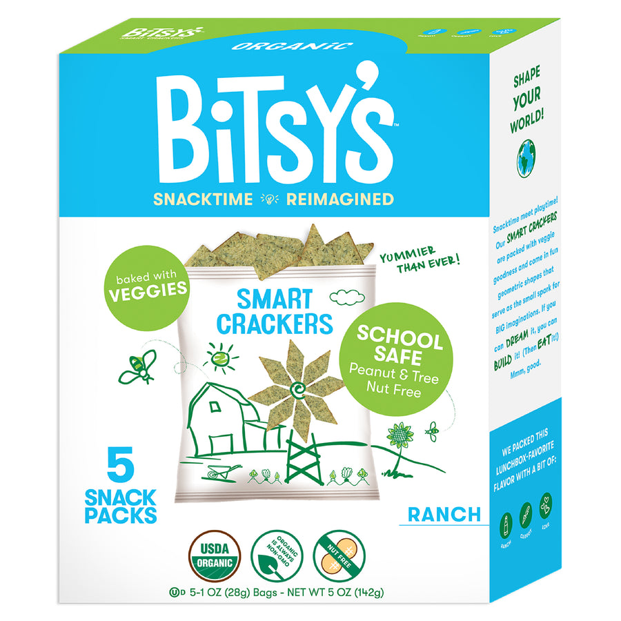 Bitsy's Ranch crackers are baked with vegetables and school safe