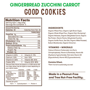 Nutrition and ingredient information for Bitsy's Gingerbread Zucchini Carrot Good Cookies