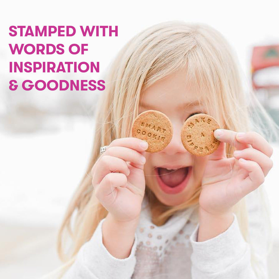Bitsy'sGingerbread Good Cookies are stamped with inspirational messages to fuel your day with goodness