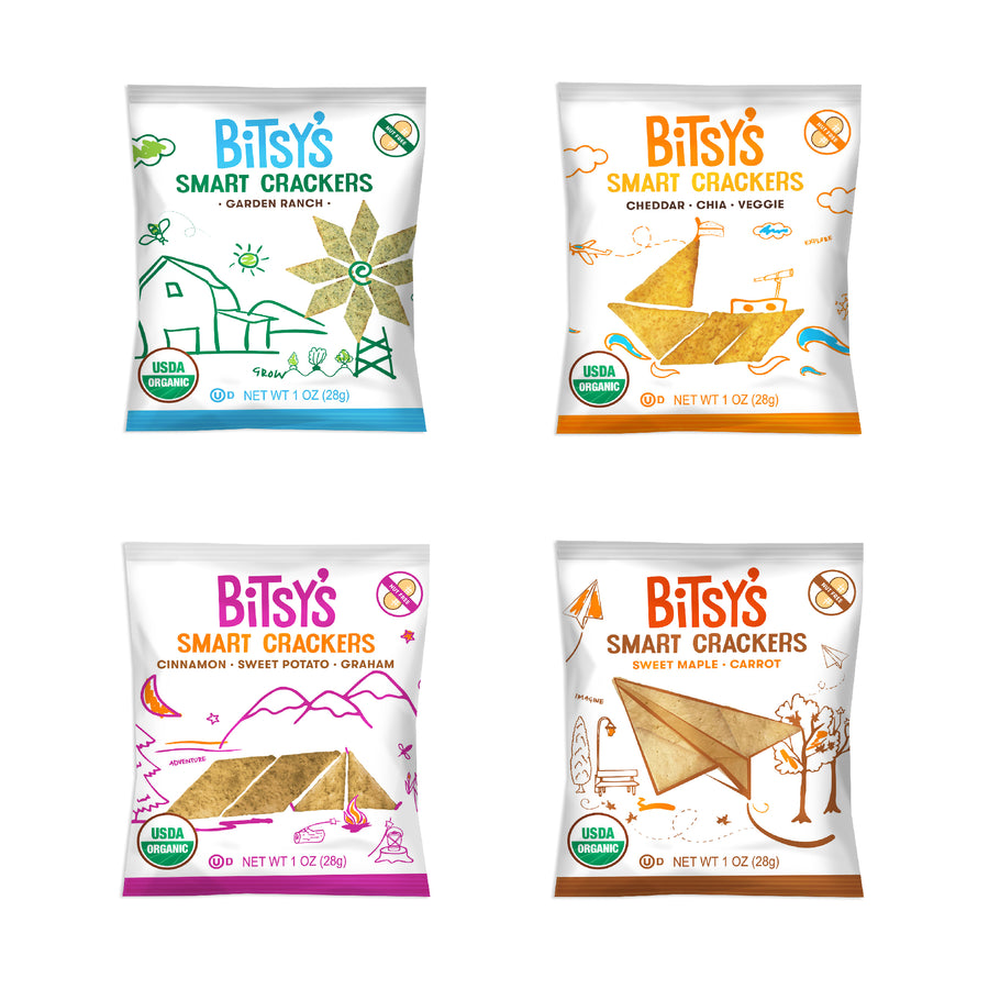 Bags of Bitsy's Smart Crackers