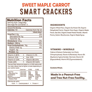 Nutrition and ingredient information for Bitsy's Sweet Maple Carrot Smart Crackers