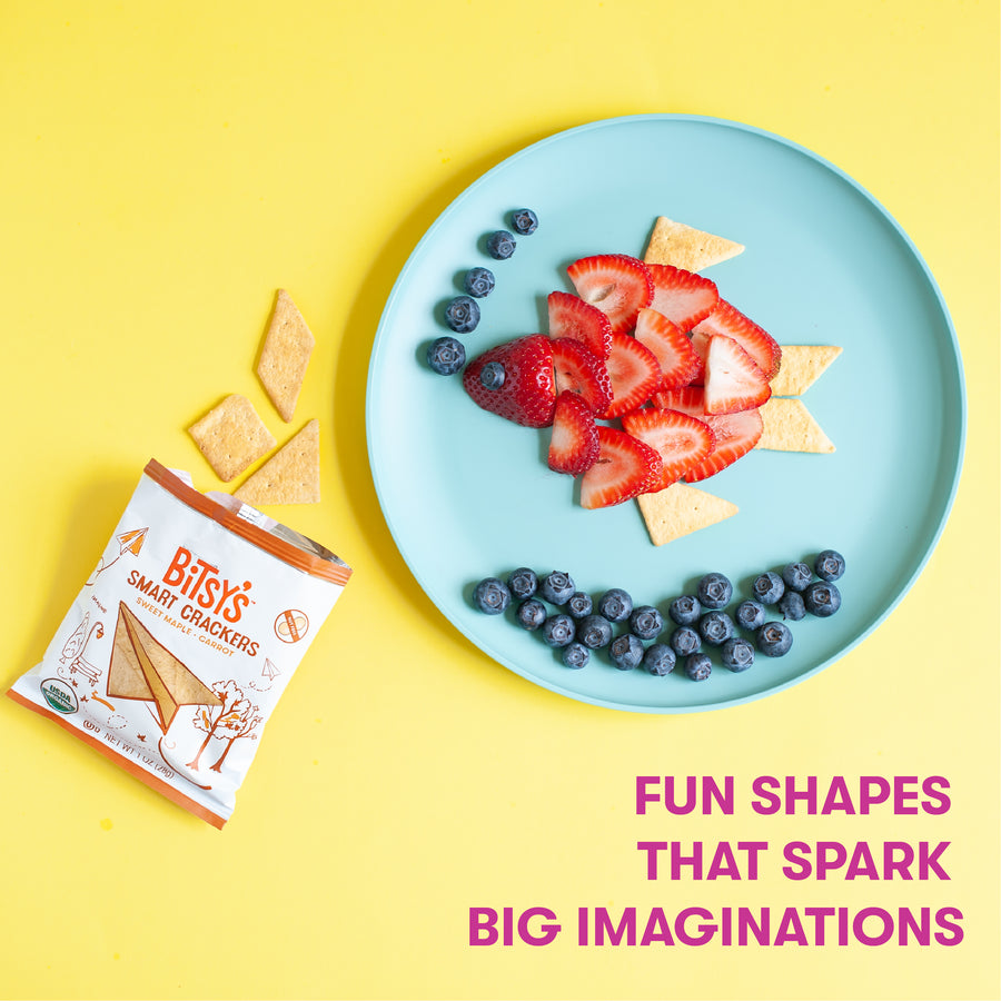 Bitsy's Sweet Maple crackers are baked into fun shapes that spark big imaginations