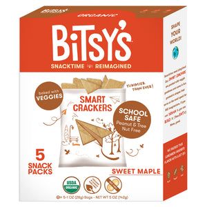 Bitsy's Sweet Maple crackers are baked with vegetables and school safe