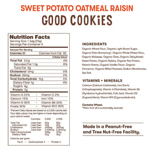 Nutrition and ingredient information for Bitsy's Sweet Potato Oatmeal Raisin Good Cookies