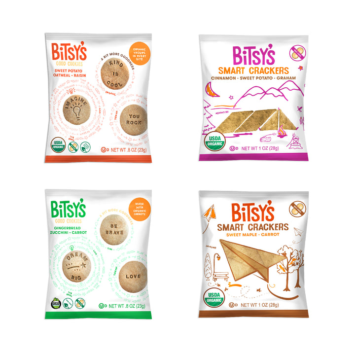Bags of Bitsy's Smart Crackers and Good Cookies