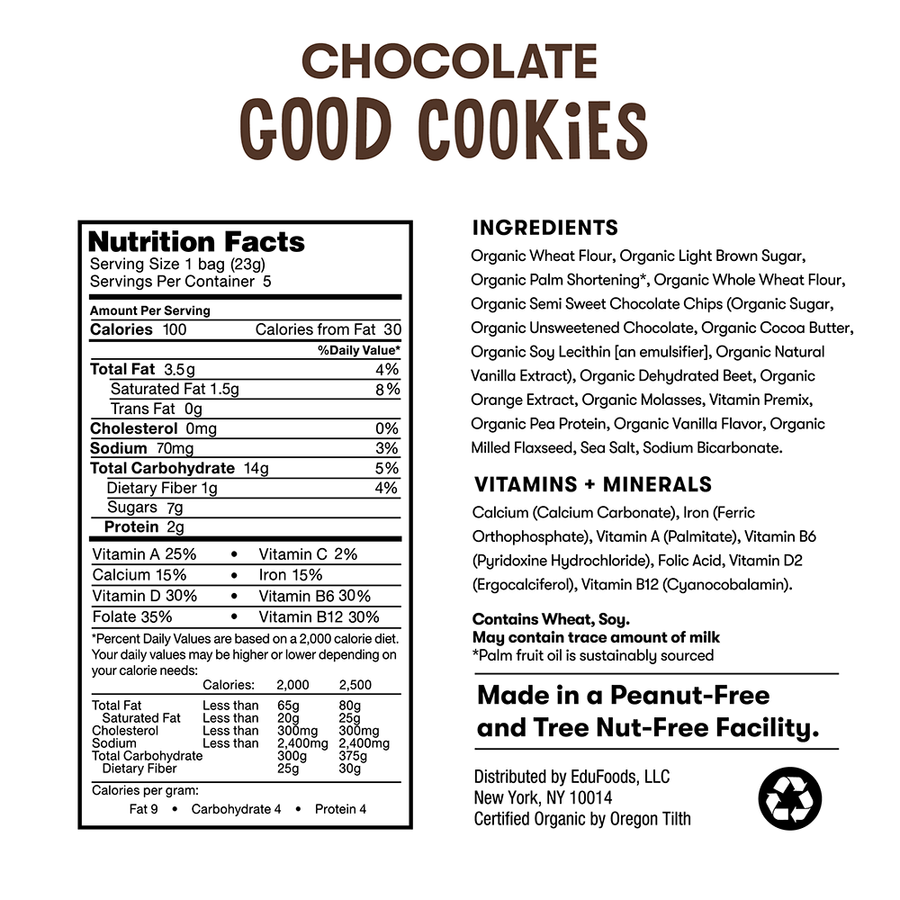 Nutrition and ingredient information for Bitsy's Chocolate Good Cookies