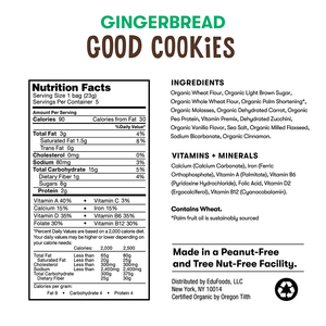 Nutrition and ingredient information for Bitsy's Gingerbread Good Cookies
