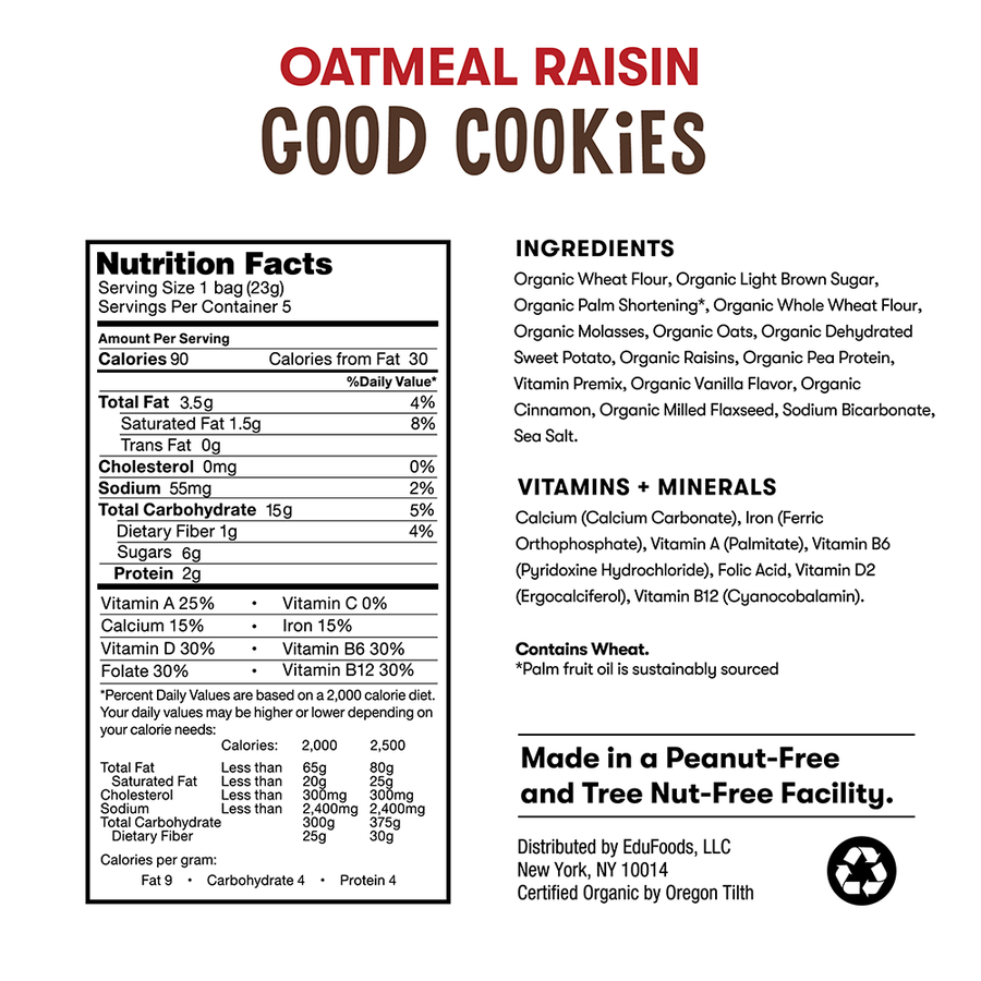 Nutrition and ingredient information for Bitsy's Oatmeal Raisin Good Cookies