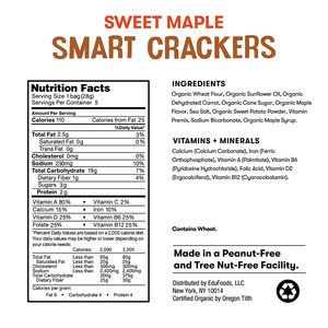 Nutrition and ingredient information for Bitsy's Sweet Maple Smart Crackers