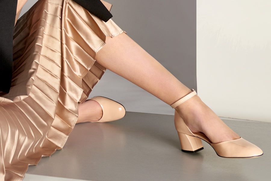 blush nude patent leather Mary Jane shoe