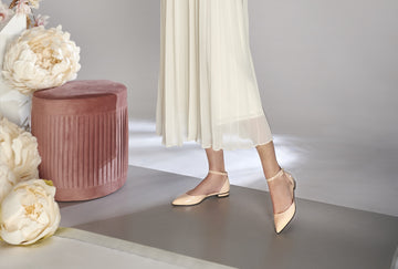 Blush nude patent leather ballet flat ankle strap