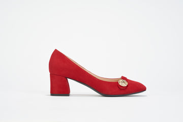 fire red smooth suede leather block-heel pump
