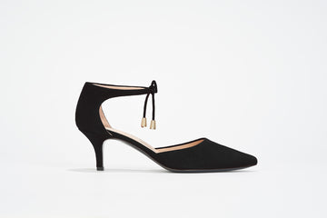 Black suede d'Orsay low heel pump