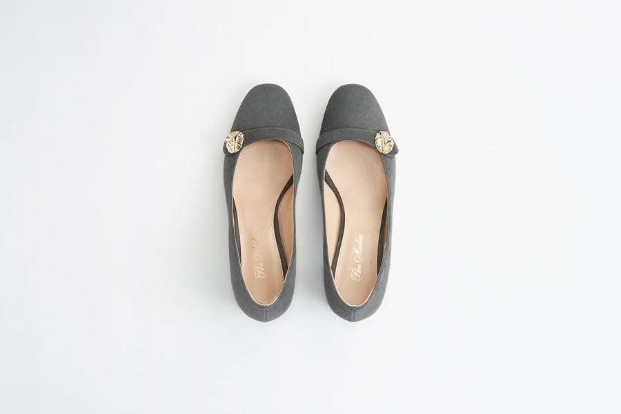 slate gray suede block-heel pump