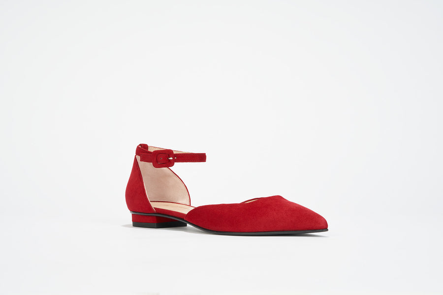 Fire Red suede ballet flat ankle strap