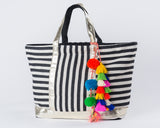 Black Beach Tote w/Multi Pom - Maris DeHart