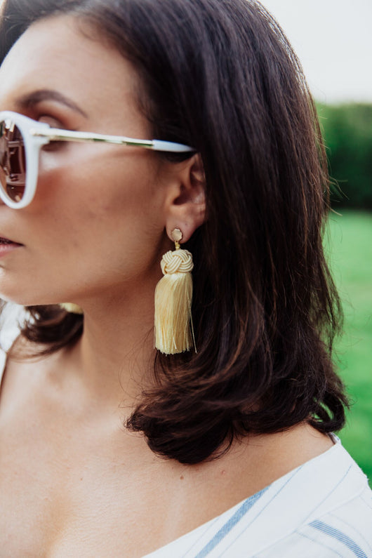 Hart Topknot Tassel Earring- Yellow - Maris DeHart