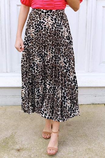 Leopard and Pleats Skirt