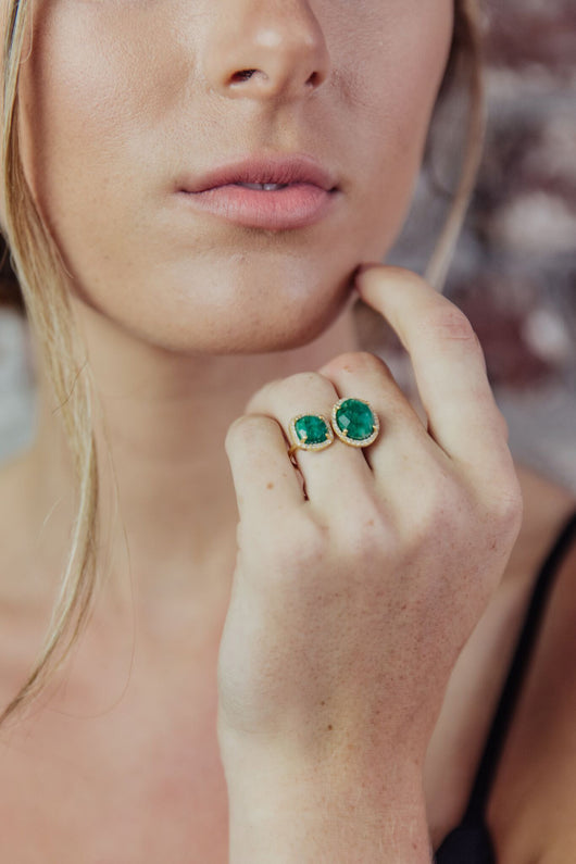 Double Stone Emerald/Crystal Ring - Maris DeHart