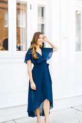 Sienne Navy Wrap Dress - Maris DeHart