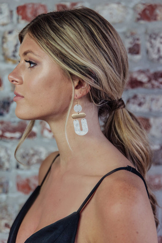 Gold/Matte White Resin Drop Earring - Maris DeHart