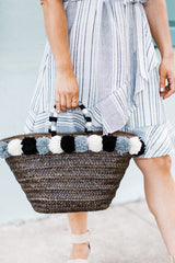 Natural Straw Pom Bag - Maris DeHart