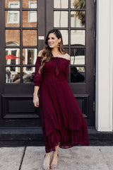 Cranberry Dreams Off The Shoulder Dress - Maris DeHart
