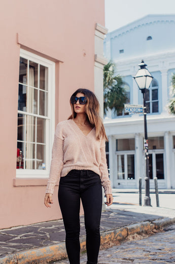 By The Way Rose Deep V Sweater - Maris DeHart